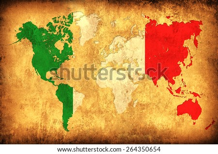 The flag of Italy in the outline of the world map - stock photo