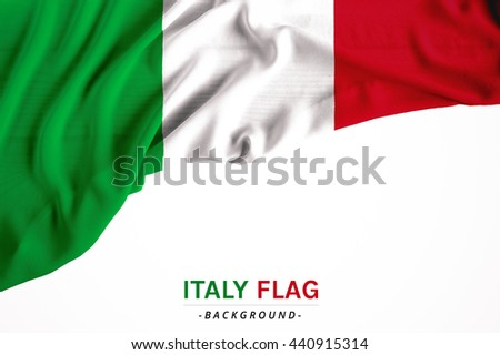 The flag of Italy or Italian. Fabric flag on white background. Horizon flag for several concept ; business,political,financial and symbolizing in any occasional ; National day,sport,travel,holiday - stock photo