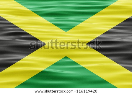 The flag of Jamaica on water - stock photo