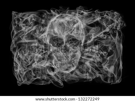 The flag of Jolly Roger consists of a smoke