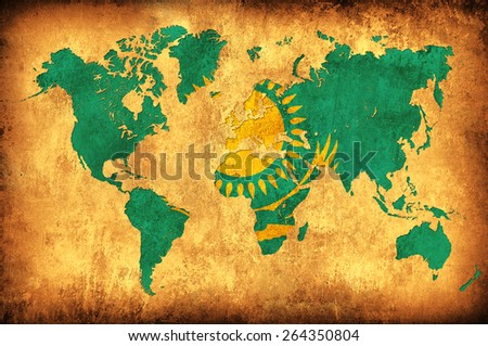 The flag of Kazakhstan in the outline of the world map - stock photo