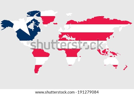 The flag of Liberia in the outline of the world
