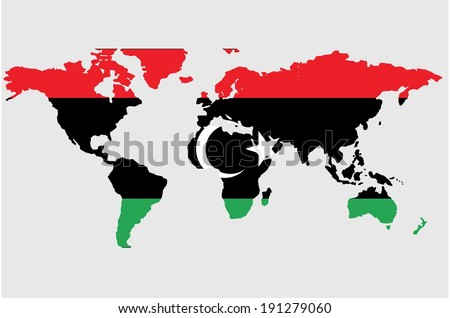 The flag of Libya in the outline of the world