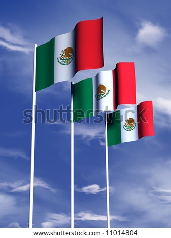 The flag of Mexico flying under a blue sky