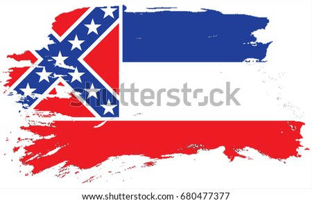 The Flag Of Mississippi. The state flag in grunge style