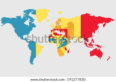 The flag of Moldova in the outline of the world