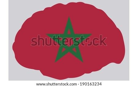 The Flag of Morocco contained in a Brain
