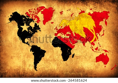 The flag of Papua New Guinea in the outline of the world map - stock photo