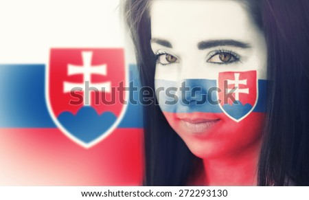 The flag of Slovakia on the face of a smiling woman. / Color effects and custom white balance is added to this photo. - stock photo