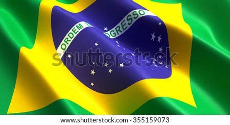 the flag of the Brazil flutters in the wind