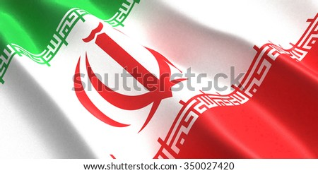the flag of the Iran flutters in the wind - stock photo