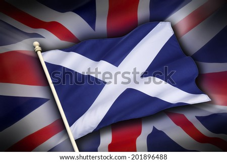 The flag of the United Kingdom (The Union Flag) and the flag of Scotland, the Saltire - Scottish Independence - stock photo