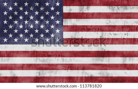 The flag of the United States of America with strong textures - stock photo