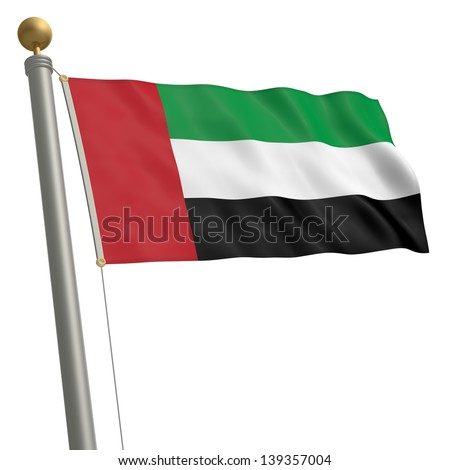 The flag of United Arab Emirates fluttering on flagpole