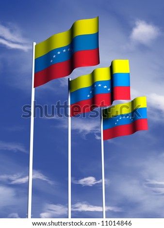 The flag of Venezuala flies in front of a blue sky