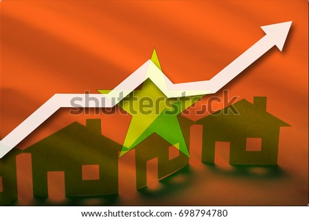 The flag of Vietnam and the rising prices of real estate. Rental prices are rising up in the tourist season. Home and white arrow up on a flag background.
