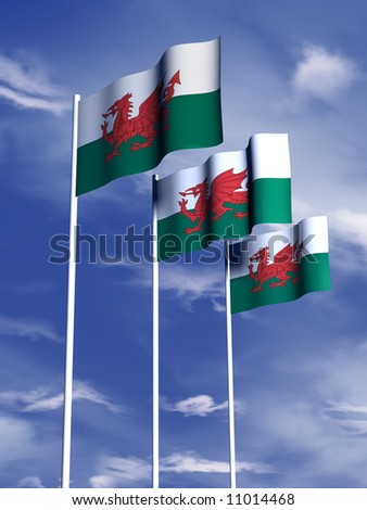 The flag of Wales flies in front of a blue sky
