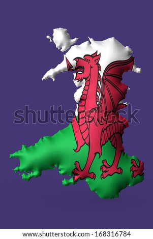The flag of Wales  super embossed on a map