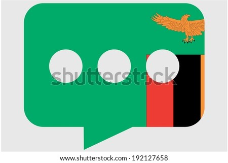 The flag of Zambia in a messaging bubble - stock photo