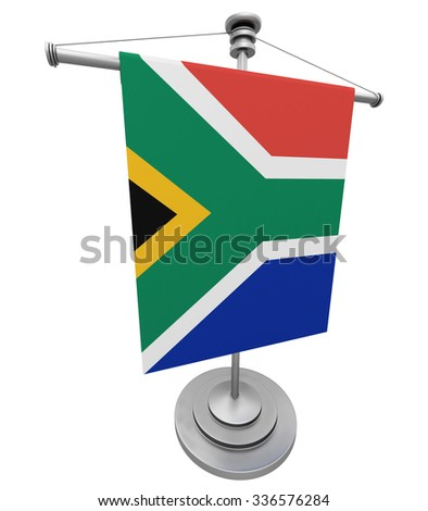 The flag South Africa on the flagpole - stock photo