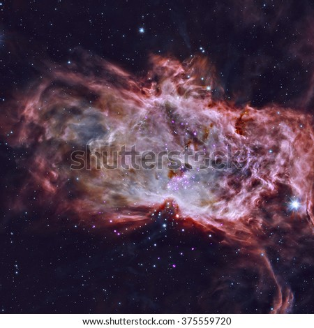 The Flame Nebula, designated as NGC 2024 and Sh2-277, is an emission nebula in the constellation Orion. Retouched colored image. Elements of this image furnished by NASA. - stock photo