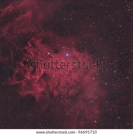 The Flaming Star Nebula is an emission/reflection nebula about 1500 light years from Earth - stock photo