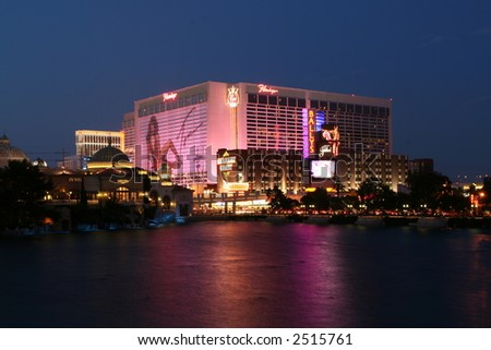 The Flamingo Hotel, as seen from the Bellagio - stock photo