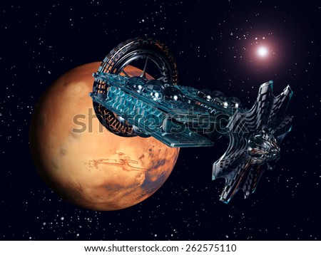 The Flight to Mars Computer generated 3D illustration - stock photo