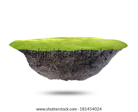 The floating island  on white background.  - stock photo