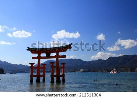 """The """"Floating"""" ; Torii Gate of Itsukushima, Miyajima, Japan - stock photo"""