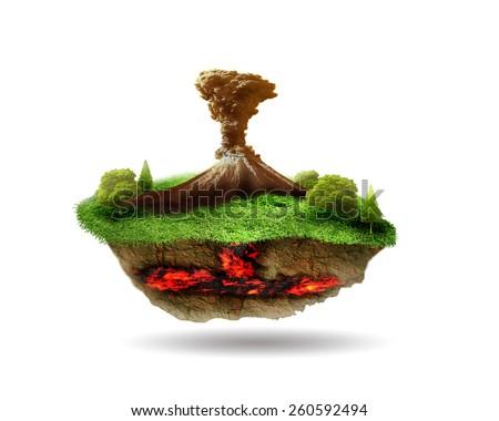 The floating Volcanic island - stock photo
