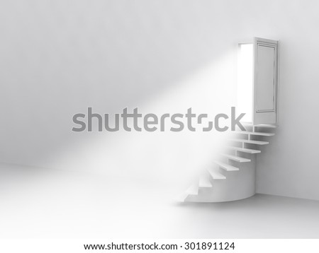 the flow of light from the open door. Staircase up. 3D - stock photo