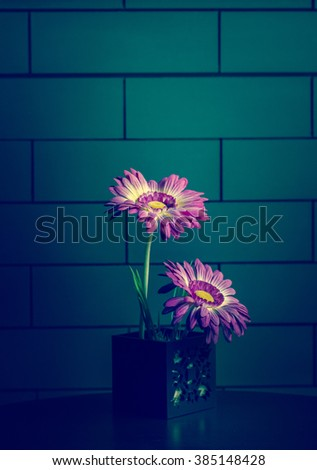 The flower vase on a  wooden table against a vintage wall, selected focus, narrow depth of field