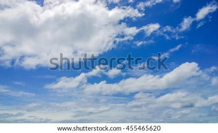 the fluffy cloud on blue sky - stock photo