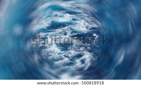 The foam on the blue water of sea, image blurred in postproduction