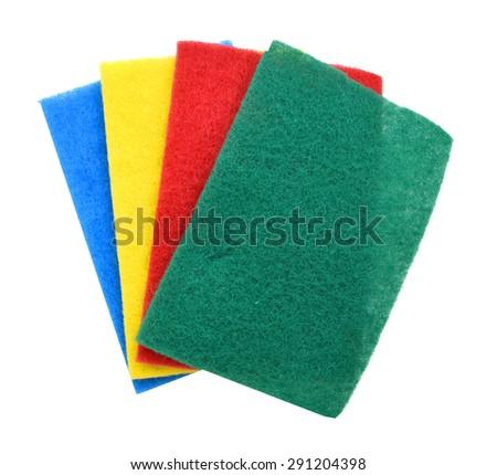The foam sponge for washing dishes isolated on white background - stock photo