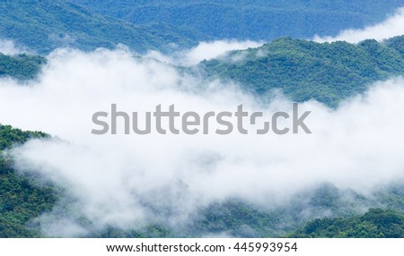 The fog flow over the mountain in the morning.