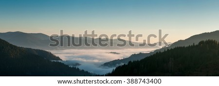 The fog over the valley in the Carpathian mountains