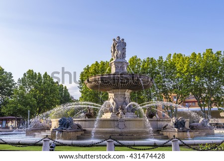 The Fontaine de la Rotonde fountain with  roundabout in Aix-en-Provence, France