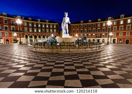 The Fontaine du Soleil on Place Massena in the Morning, Nice, French Riviera, France - stock photo
