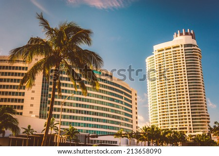 The Fontainebleau Hotel, in Miami Beach, Florida. - stock photo