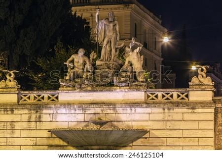 The Fontana del Nettuno (Fountain of Neptune) is a monumental fountain located in the Piazza del Popolo in Rome. Evening - stock photo