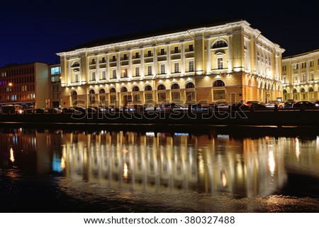 The Fontanka river embankment about Lomonosova square in St. Petersburg at night