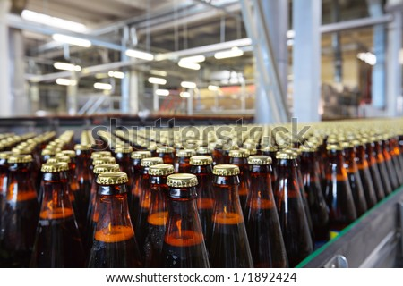 The food industry. Glass beer bottles moving on conveyor - stock photo