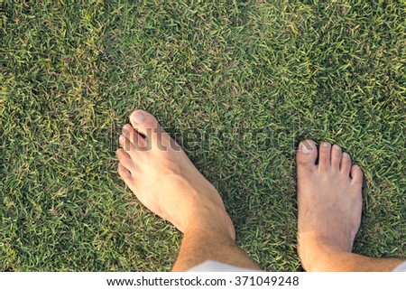 The foot on the grass in the sunset time