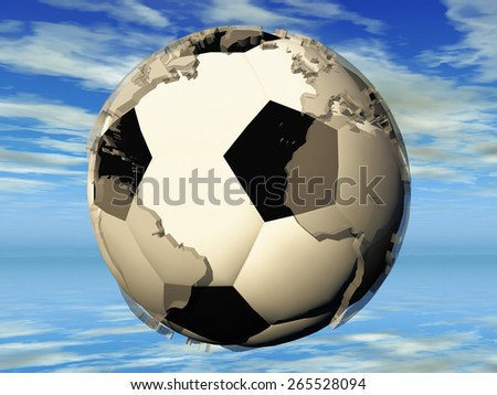 the football and the earth - stock photo