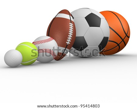 The football, rugby, baseball, golf, tennis and basketball. 3D render different ball