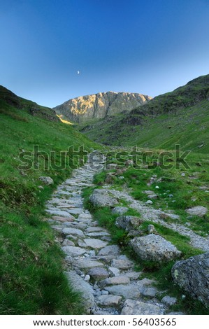 The footpath up to Great End in the English Lake District