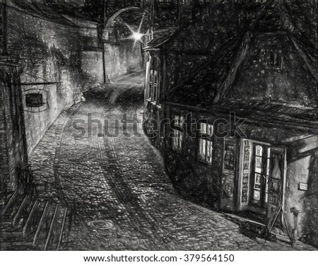 The footway ramp, night view - Charcoal sketch, digital art work The footway ramp, built in the XIXth century - Sibiu city, Transylvania, Romania