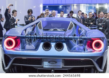 The 2016 Ford GT supercar at The North American International Auto Show January 12, 2015 in Detroit, Michigan. - stock photo